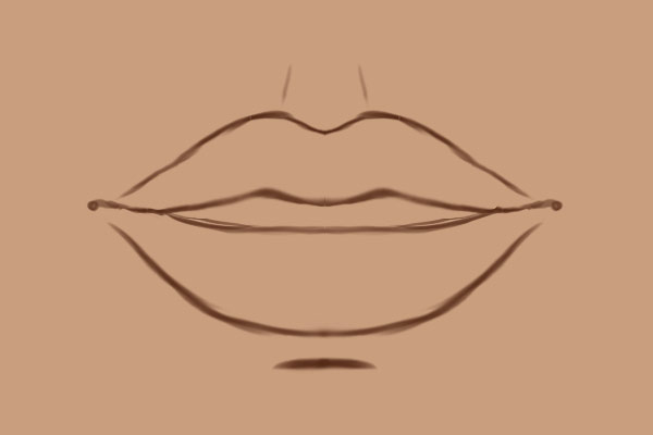 The sketch of the lips