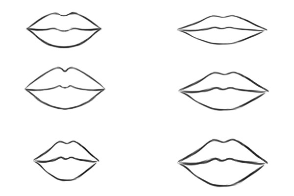 Different shapes of lips