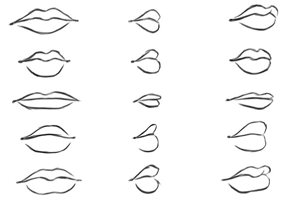 Lips in various angles