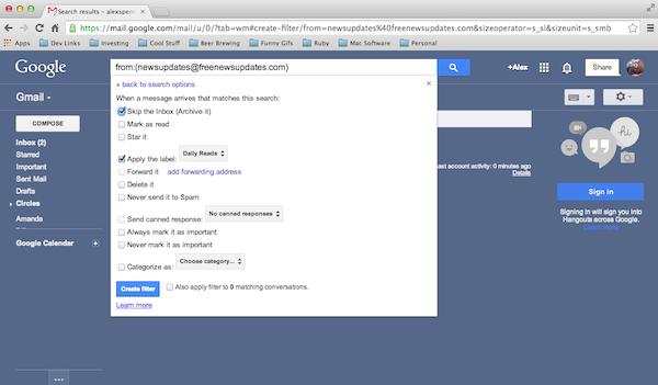 Add a filter in Gmail