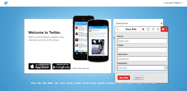 Add Twitter to your LastPass