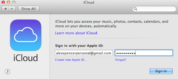 Sign into iCloud to enable Back to My Mac