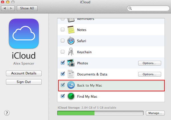 Enable Back to My Mac from the iCloud menu in System Preferences