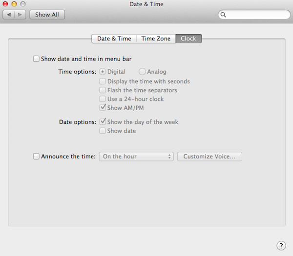 Removing the timestamp from the menu bar