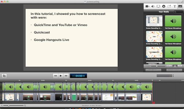 An example of an edited screencast