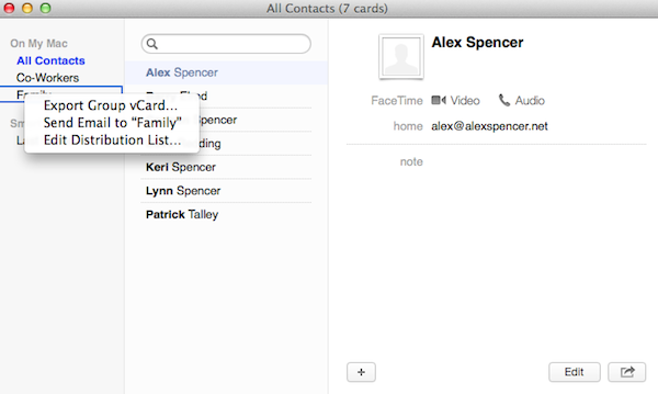 Starting a mass email for a group in Contacts