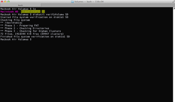 Verifying a Disk via Terminal in OSX