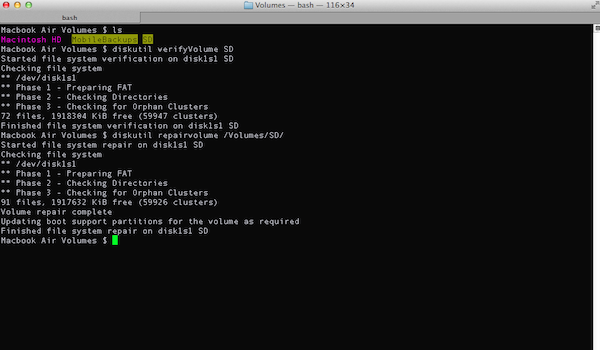 Repairing a disk from Terminal in OSX