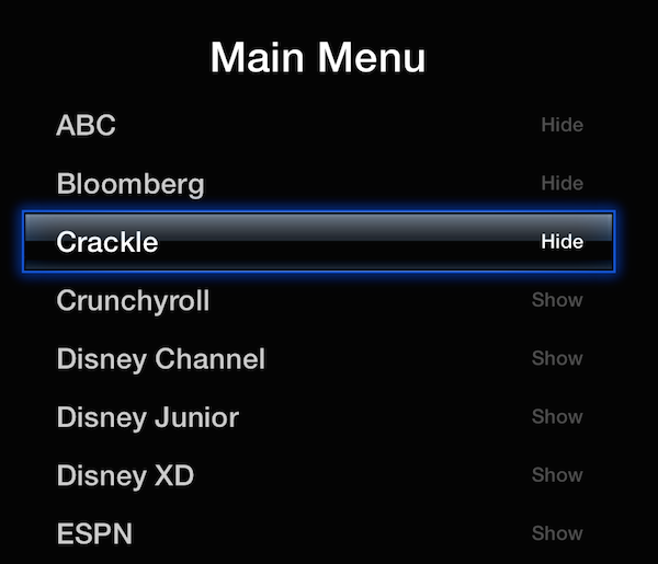 Hide unwanted channels or icons on the AppleTV