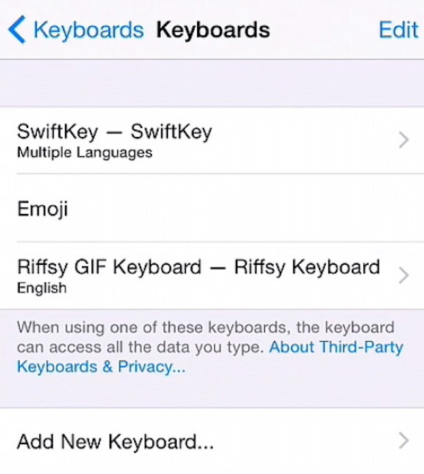 Adding a newly downloaded keyboard in iOS 8