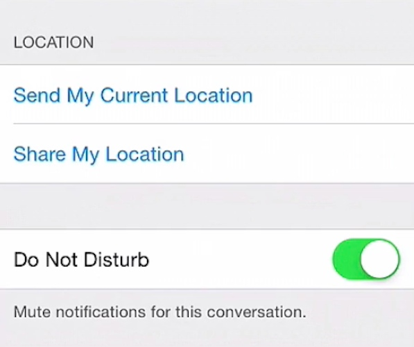 Setting a single group chat to Do Not Disturb