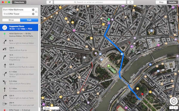 Turn by turn directions using Apple Maps