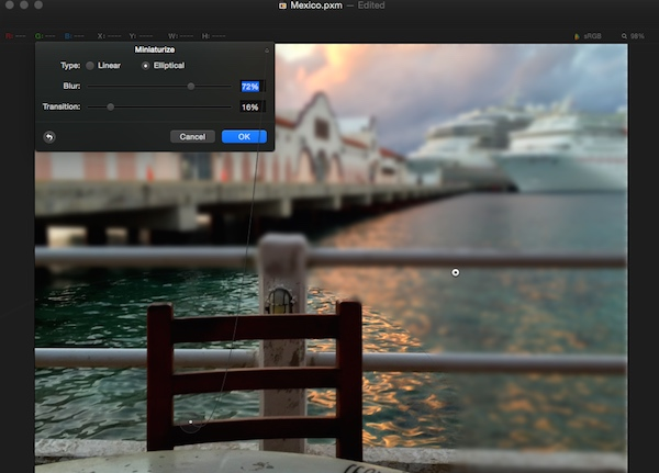 Adding a blur effect in Pixelmator
