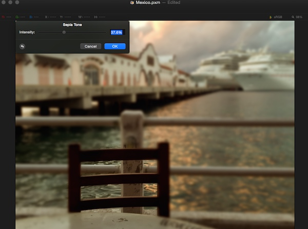 Adding color adjustments in Pixelmator