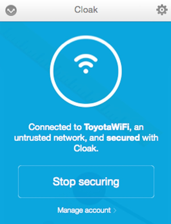 A public Wifi hotspot with Cloak VPN enabled
