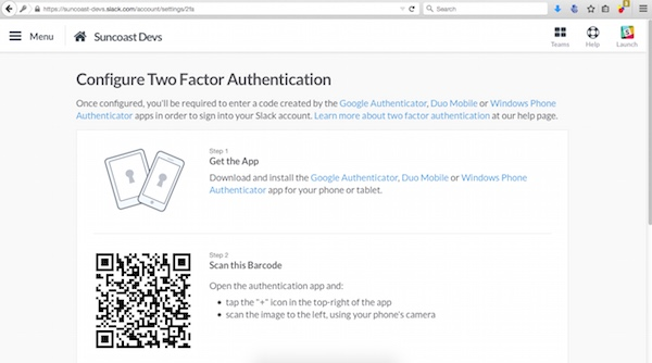 2fA on Slack using Google Authenticator