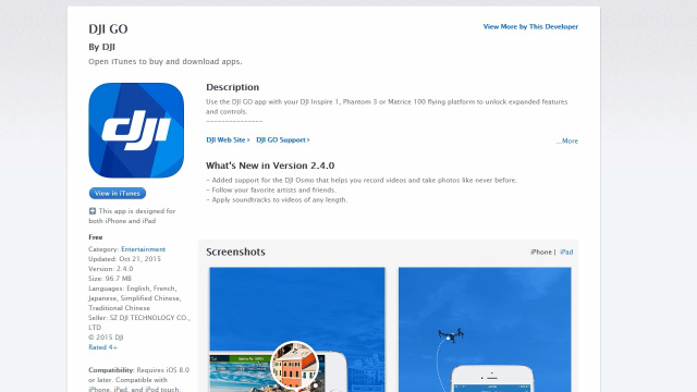 DJI Go app download page