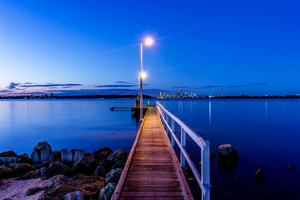 Dock cast in blue light