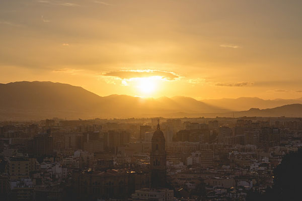 Sunset over Malaga Spain