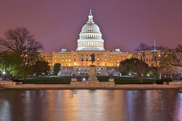 US Capital under a purple sky