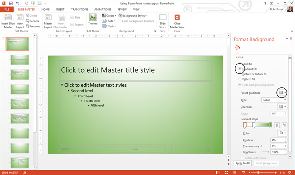 How to use and edit powerpoint master slides adding a gradient background in powerpoint 2013 toneelgroepblik