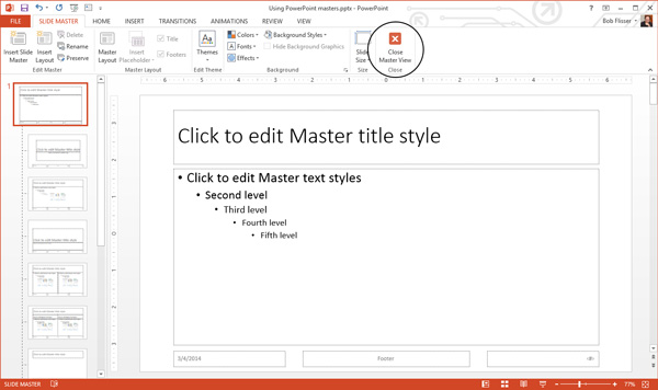 Exiting PowerPoint Master Slide View