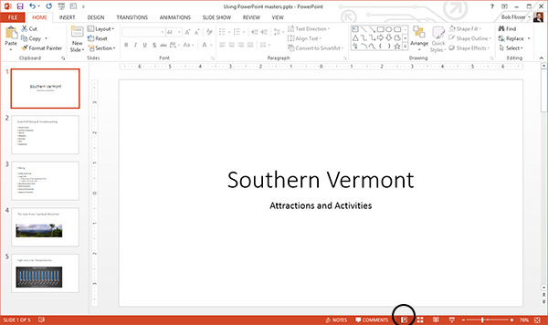 Entering Master Slide view in PowerPoint 2013 for Windows