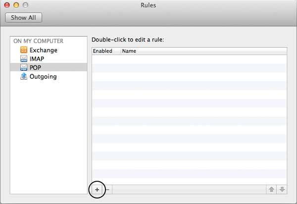 Dialog to create a new rule on the Mac