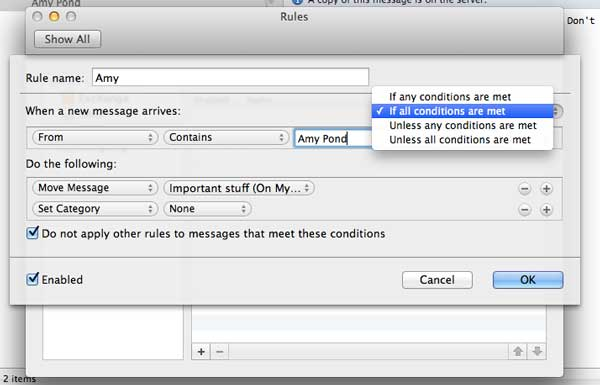 Rules settings dialog on the Mac