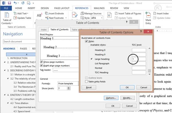 custom styles in the headings dialog