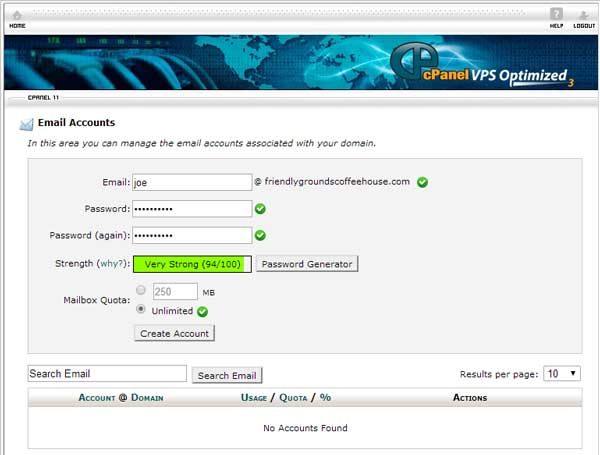 creating an email account in cPanel