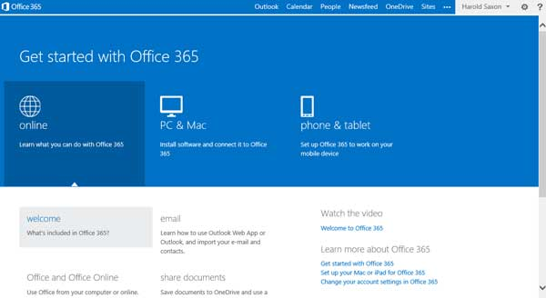main office 365 screen for users
