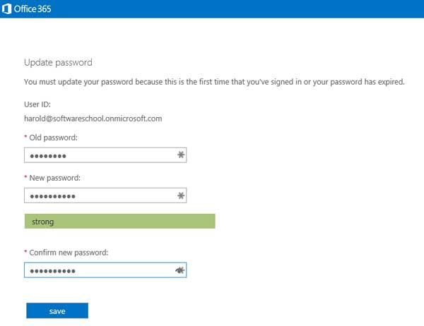 screen for new user to create a password