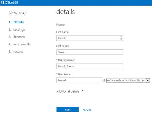 new user details screen