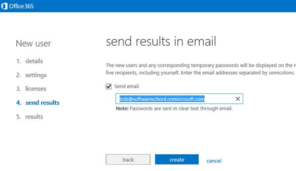 option to send user names and passwords by email