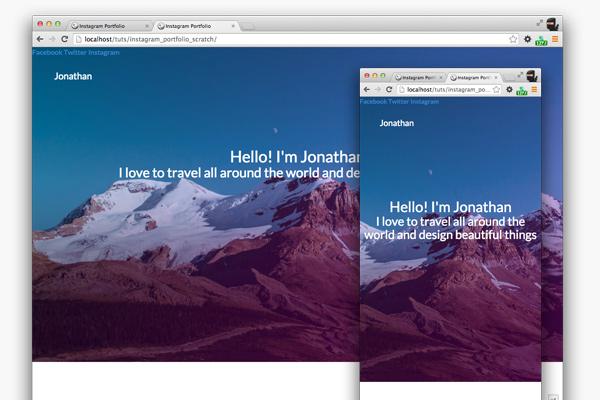 http://webdesign.tutsplus.com/tutorials/building-an-instagram-based-portfolio-with-bootstrap--cms-22243
