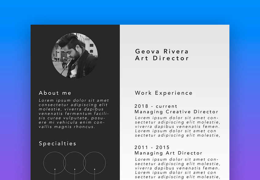 Bold Black White Resume Template For A Graphic Design