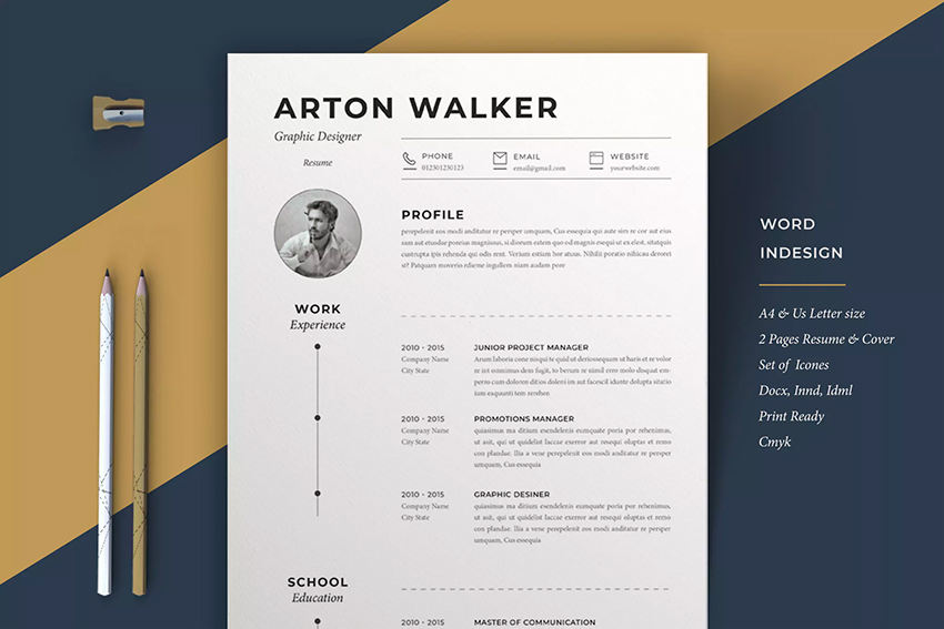 Resume Airton Graphic Designer Template Available On Envato Elements