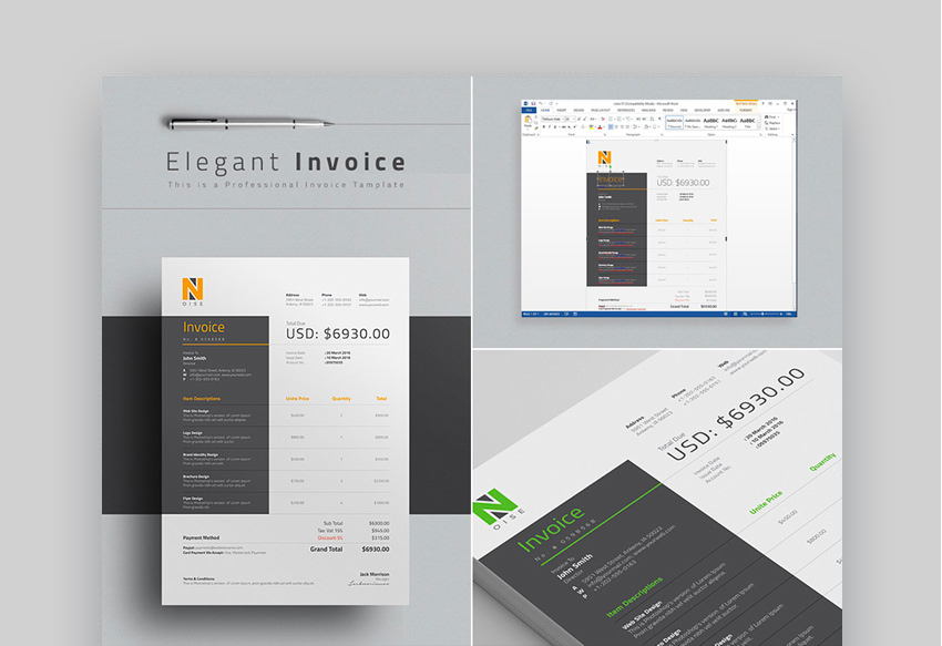Elegant Invoice Business Template - With Word Files