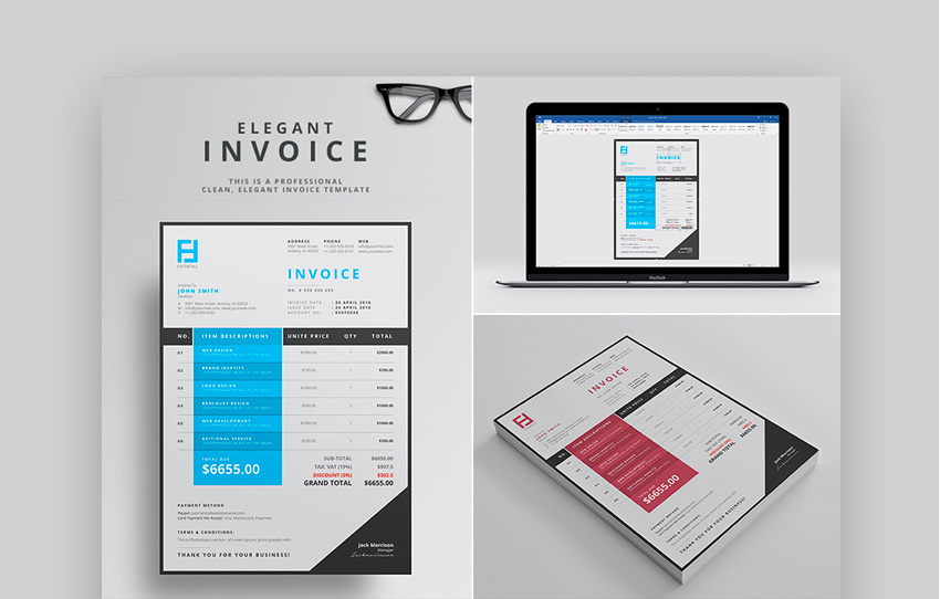 Elegant Word Invoice Template For Professionals
