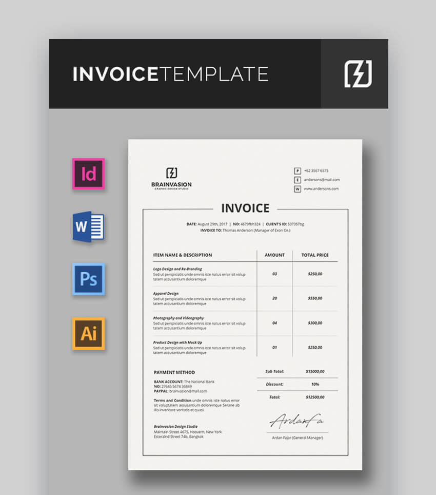 Fully Editable Invoice Template