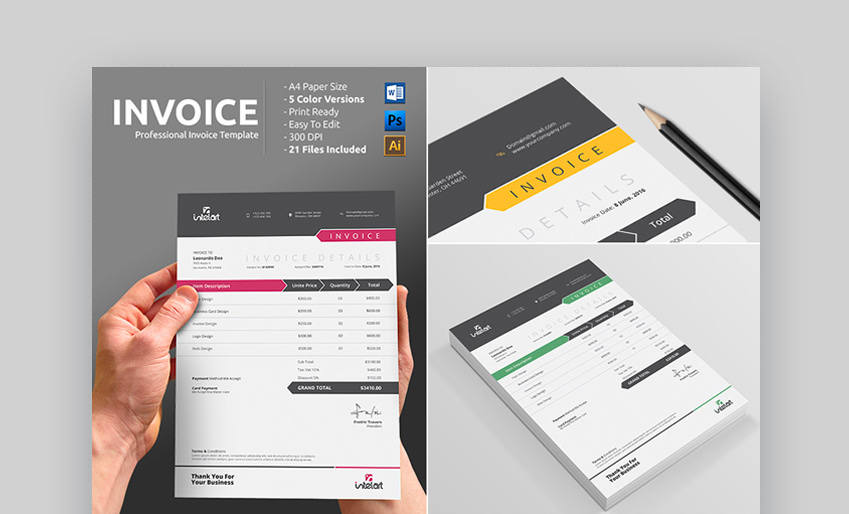 Professional Invoice Template Print-Ready