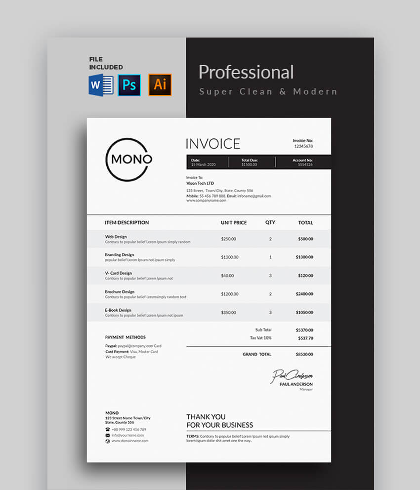 Super Clean  Modern Invoice Template