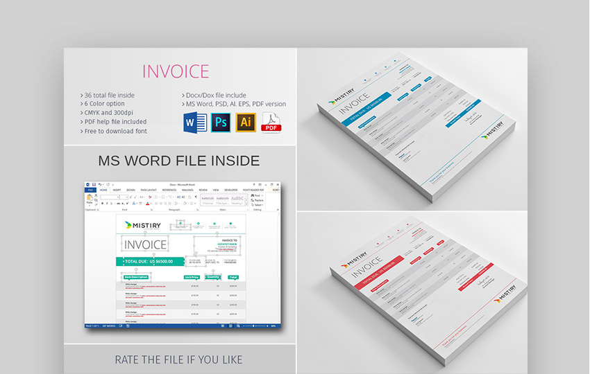 The Invoice Template - Simple Quick to Edit