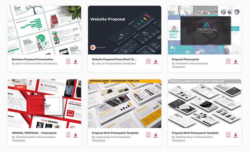 Hundreds of Business Proposal PowerPoint Templates on Envato Elements