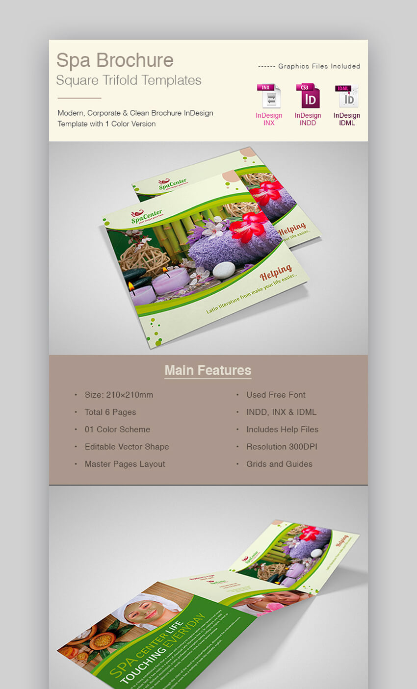 Spa Brochure Square Trifold