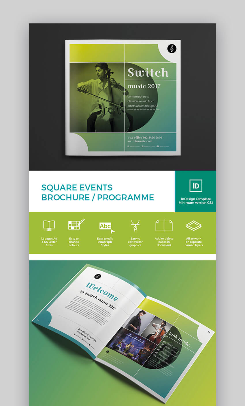 Square Events Brochure Programme Template
