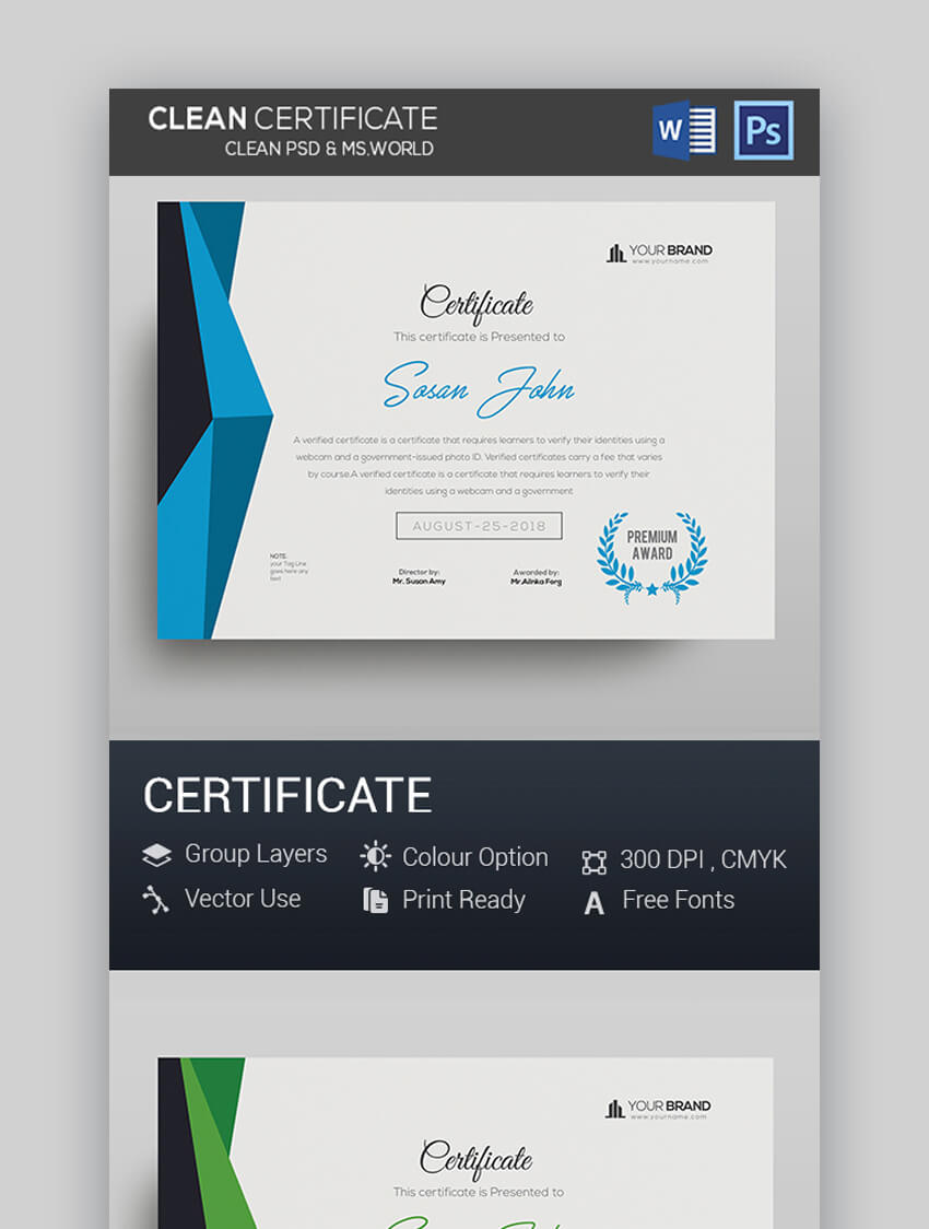 Clean PSD  MS Word Certificate
