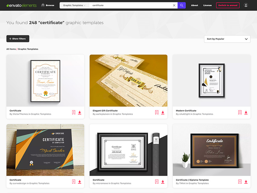 Certificate Design Templates on Envato Elements