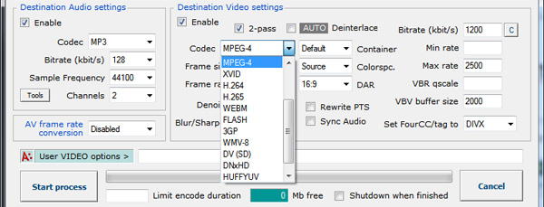 Codec dropdown menu in Avanti